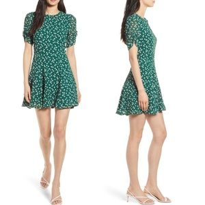 Reformation Gracie Ruched Sleeve Mini dress NWT